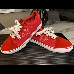 True Religion Red Canvas Mens Lifestyle Sneakers